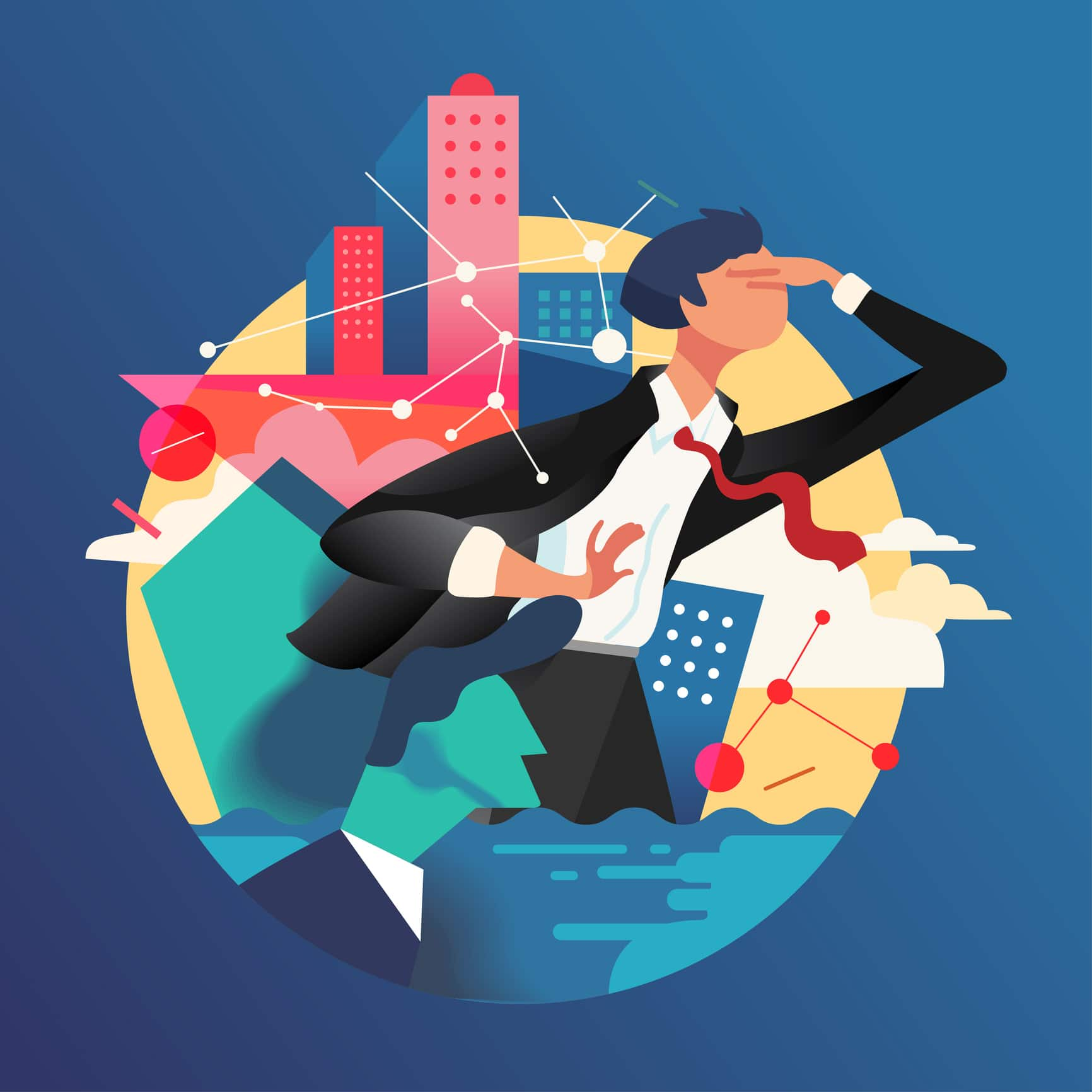 2D Flat Graphic Design. Businessman working in the city with technology and Network connectivity. Vector Illustration.